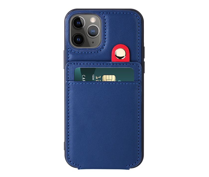 Card slots leather case(Lanyard version Blue)